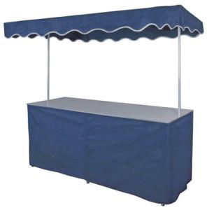 Falttisch mit blauer Verkleidung