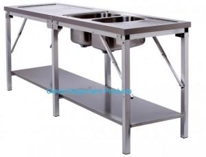 Edelstahl Tisch faltbar mit Spülbecken und Borden